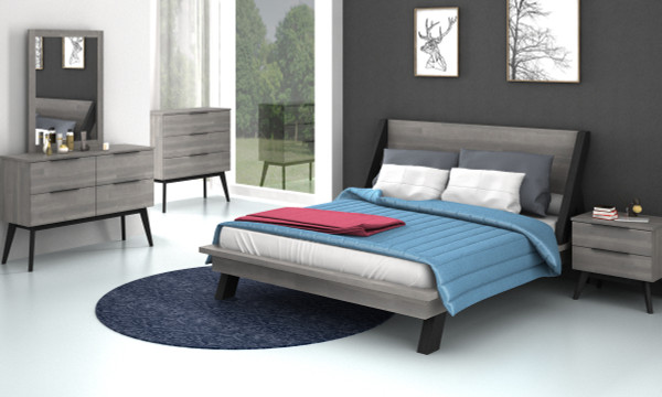 RED HOT DEAL 6 PIECE BEDROOM PACKAGE (SHILAS COLLECTION IN SILVER GREY & BLACK OLIVE COLOUR )