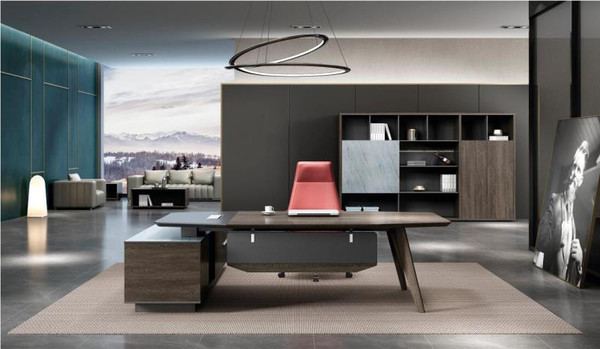 CARTER EXECUTIVE OFFICE DESK WITH RIGHT REURN - COFFEE  AND CHARCOAL COLOUR