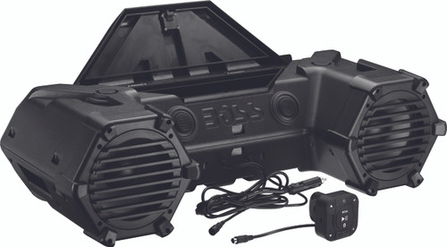 """BLUETOOTH AMPLIFIED ALL-TERRAIN SOUND SYSTEM FEATURES LED LIGHT BAR, LARGE FRONT STORAGE COMPARTMENT AND 8"""" MARINE SPEAKERS AND 1.5"""" WEATHERPROOF TWEETERS"""