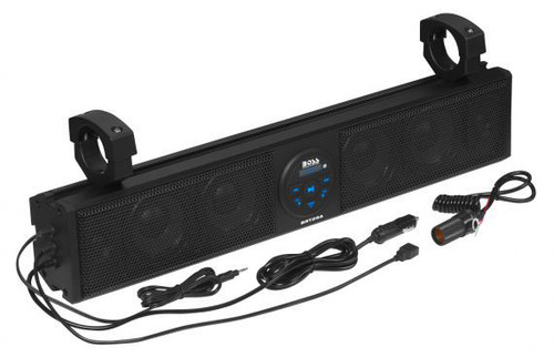WEATHERPROOF 26 INCH IPX5 RATED ATV/UTV SOUND BAR AUDIO SYSTEM WITH BLUETOOTH AUDIO STREAMING AND 500 WATT BUILT-IN CLASS A/B AMPLIFIER