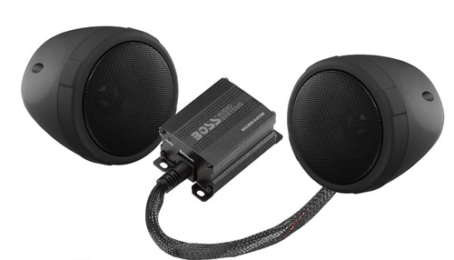 """BLACK 600 WATT MOTORCYCLE/ATV SOUND SYSTEM WITH BLUETOOTH AUDIO STREAMING, ONE PAIR OF 3"""" WEATHER PROOF SPEAKERS, AUX INPUT AND VOLUME CONTROL"""
