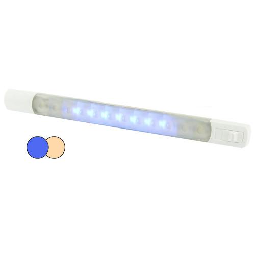 Hella MarineSurface Strip Light w/Switch - Warm White/Blue LEDs - 12V
