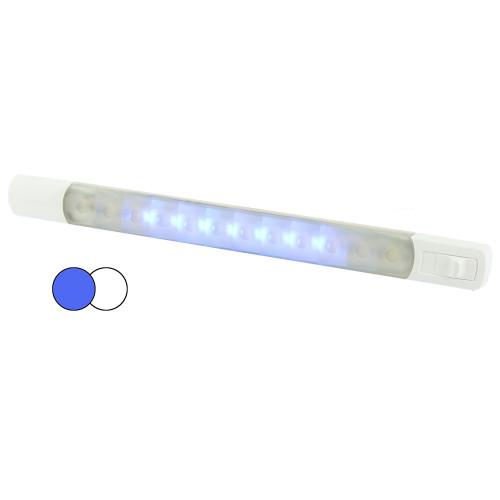 Hella MarineSurface Strip Light w/Switch - White/Blue LEDs - 12V