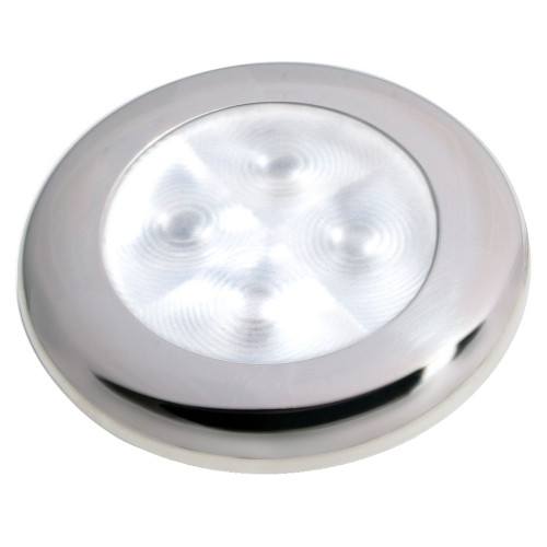 Hella Marine Slim Line LED 'Enhanced Brightness' Round Courtesy Lamp - White LED - Stainless Steel Bezel - 12V