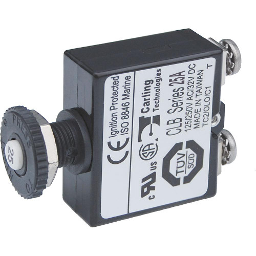Blue Sea Push Button Reset Only Screw Terminal Circuit Breaker - 25 Amps