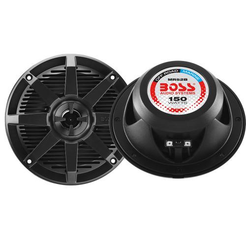 Boss Audio MR52B 5.25 2-Way 150W Marine Full Range Speaker - Black - Pair
