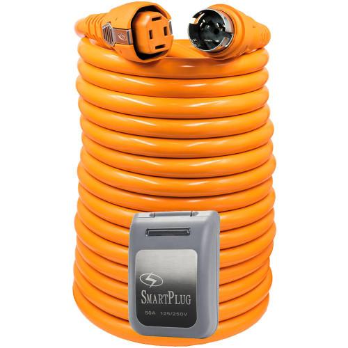 SmartPlug 50 Amp 50 Dual Configuration Cordset w/Marina Twist-Type Connector  50 Amp Non-Metallic Inlet - Grey