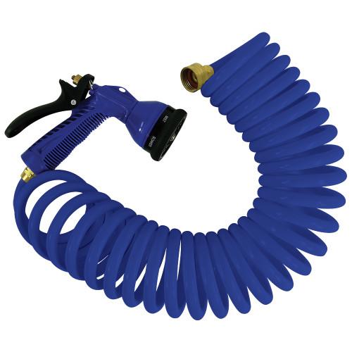 Whitecap 25 Blue Coiled Hose w/Adjustable Nozzle
