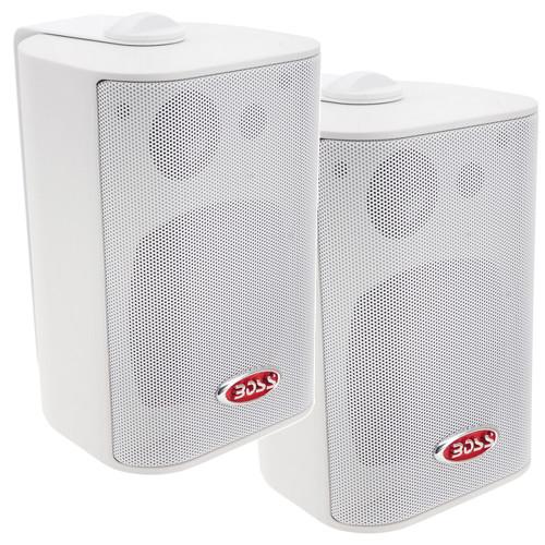 """Boss Audio MR4.3W 4"""" 3-Way Marine Box Speakers (Pair) - 200W - White"""
