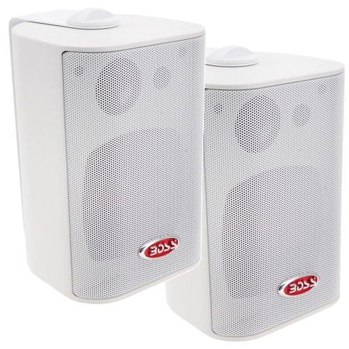 Boss Audio MR4.3W 4 3-Way Marine Enclosed System Box Speakers - 200W - White