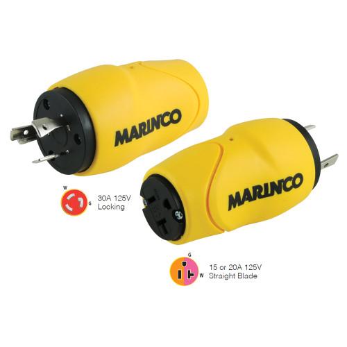 Marinco Straight Adapter, 30A Male - 15A Female