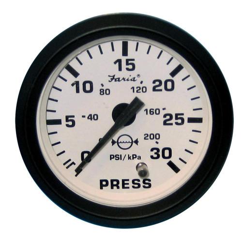 Faria Euro White 2 Water Pressure Gauge Kit - 30 PSI