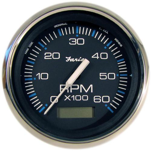 Faria Chesapeake Black SS 4 Tachometer w/Hourmeter - 6,000 RPM (Gas - Inboard)