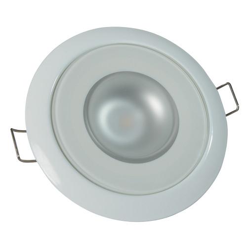 Lumitec Mirage - Flush Mount Down Light - Glass Finish/White Bezel - White Non-Dimming