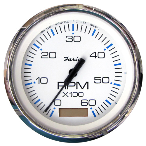 Faria Chesapeake White SS 4 Tachometer w/Hourmeter - 6,000 RPM (Gas - Inboard)