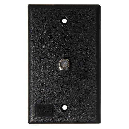 KING Jack PB1001 TV Antenna Power Injector Switch Plate - Black