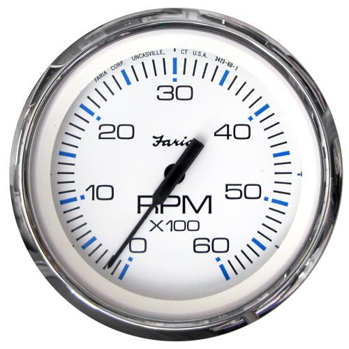Faria Chesapeake White SS 4 Tachometer - 6,000 RPM (Gas - Inboard & I/O)
