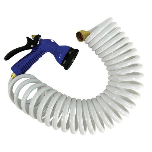 Whitecap 25 White Coiled Hose w/Adjustable Nozzle
