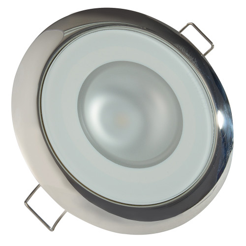 Lumitec Mirage - Flush Mount Down Light - Glass Finish/Polished SS Bezel - 3-Color Red/Blue Non Dimming w/White Dimming