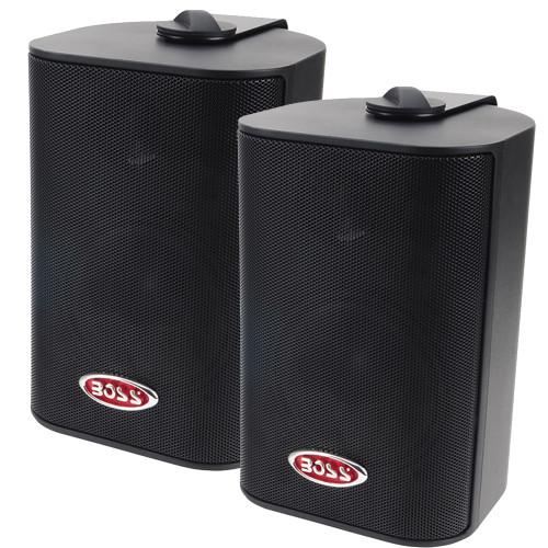 Boss Audio MR4.3B 4 3-Way Marine Enclosed System Box Speakers - 200W - Black