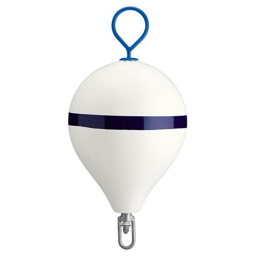Polyform Mooring Buoy w/Iron 17 Diameter - White Blue Stripe