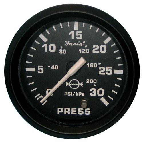 Faria Euro Black 2 Water Pressure Gauge Kit - 30 PSI