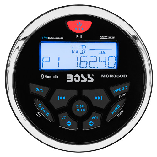 Boss Audio MGR350B Marine Gauge Style Radio - MP3/CD/AM/FM/RDS Receiver