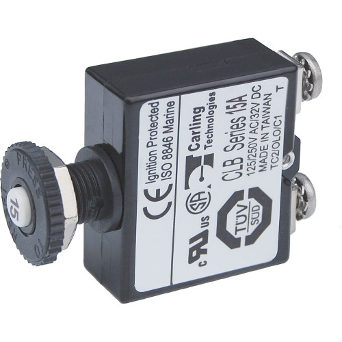 Blue Sea Push Button Reset Only Screw Terminal Circuit Breaker - 15 Amps