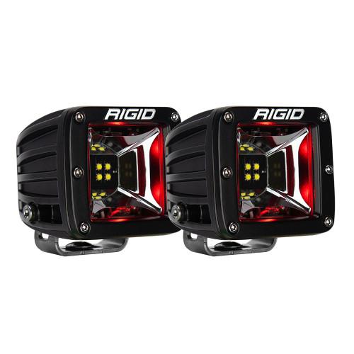 RIGID Industries Radiance Scene Lights - Surface Mount Pair - Black w/Red LED Backlight