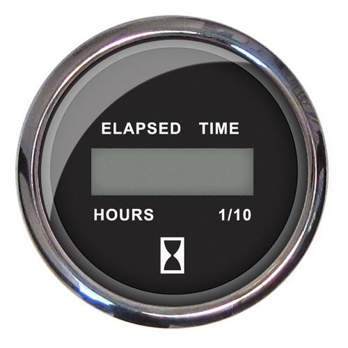 Faria 2 Hourmeter 10,000 Hours Digital, 12-32VDC - Chesapeake Black w/Stainless Steel Bezel