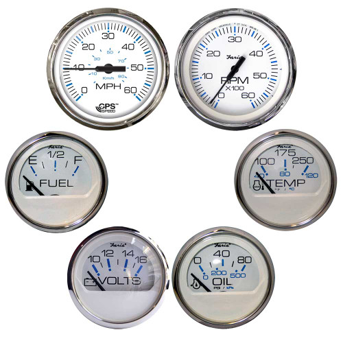 Faria Chesapeake White w/Stainless Steel Bezel Boxed Set of 6 - Speed, Tach, Fuel Level, Voltmeter, Water Temperature  Oil PSI