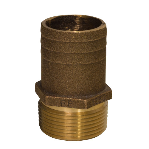 "GROCO 1"" NPT x 1-1\/4"" Bronze Full Flow Pipe to Hose Straight Fitting"