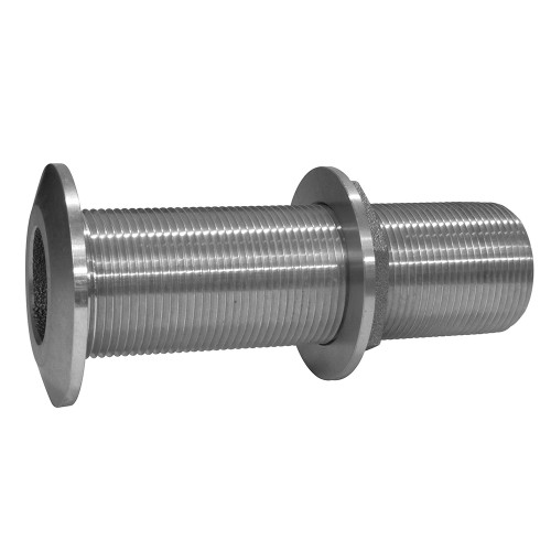 """GROCO 1-1/2"""" Stainless Steel Extra Long Thru-Hull Fitting w/Nut"""