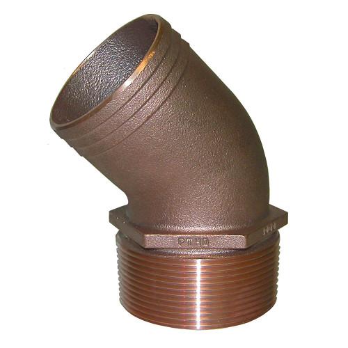 "GROCO 1-1/4"" NPT Bronze 45 Degree Pipe to 1-1/4"" Hose"