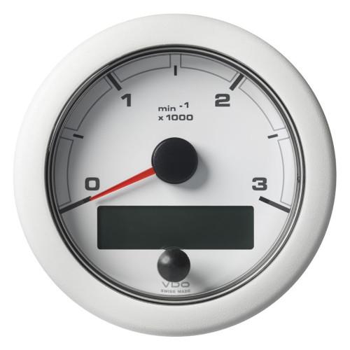 "VDO 3-3/8"" (85mm) OceanLink NMEA 2000 Tach - 3000 RPM - White Dial & Bezel"