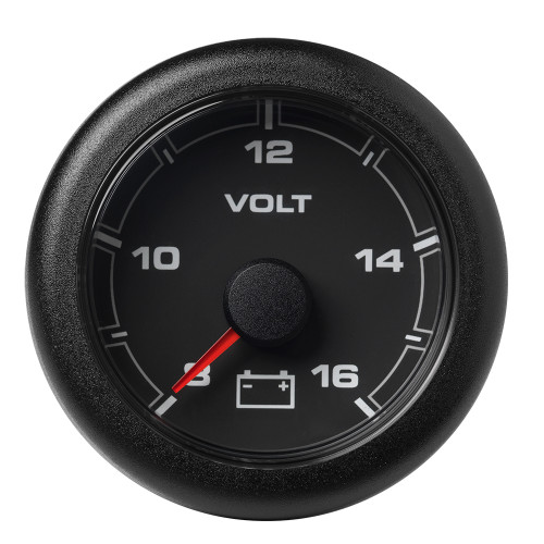 "VDO Marine 2-1\/16"" (52mm) OceanLink Battery Voltage Gauge - 8 to 16 V - Black Dial  Bezel"