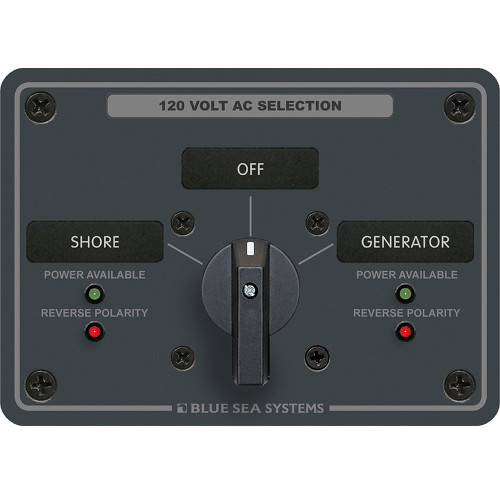 Blue Sea 8367 AC Rotary Switch Panel 30 Ampere 2 Positions + OFF, 2 Pole