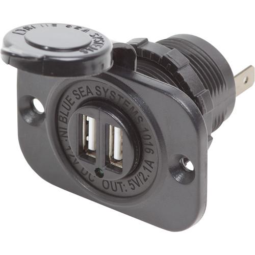 Blue Sea Dual USB Charger Socket - 2 USB Ports w/Watertight Cap