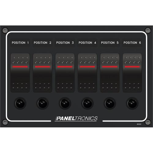 Paneltronics Waterproof Panel - DC 6-Position Illuminated Rocker Switch & Circuit Breaker