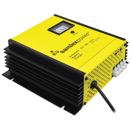 Samlex 15A Battery Charger - 12V - 3-Bank - 3-Stage w/Dip Switch  Lugs