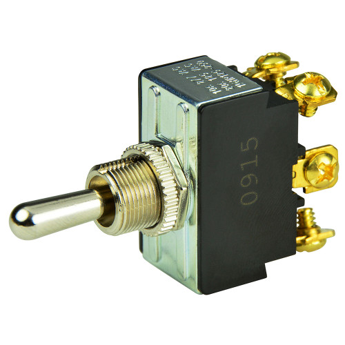 BEP DPDT Chrome Plated Toggle Switch - (ON)\/OFF\/(ON)