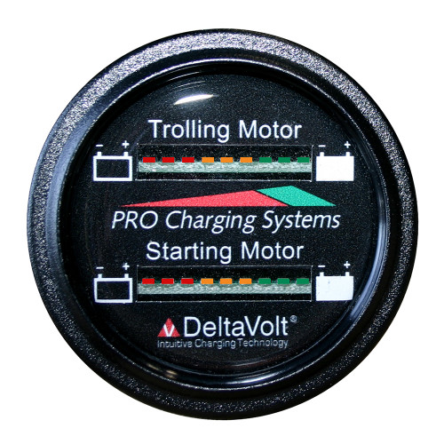 Dual Pro Battery Fuel Gauge - Marine Dual Read Battery Monitor - 12V/24V System - 15 Battery Cable