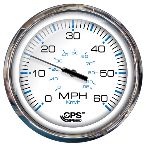 """Faria 5"""" Speedometer (60 MPH) GPS (Studded) Chesapeake White w/Stainless Steel"""