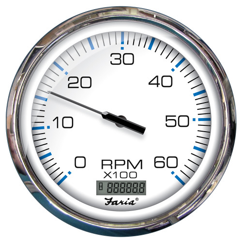 "Faria 5"" Tachometer w/Digital Hourmeter (6000 RPM) Gas (Inboard) Chesapeake White w/Stainless Steel Bezel"