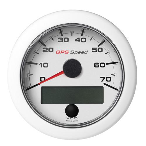"""VDO Marine 3-3/8"""" (85mm) OceanLink GPS Speedometer (0-70 KN/MPH/KMH) - White Dial  Bezel"""