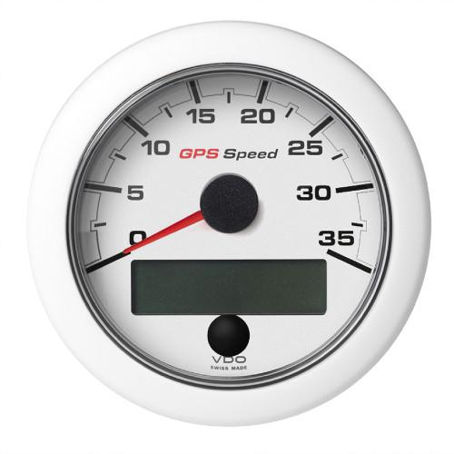 """VDO Marine 3-3/8"""" (85mm) OceanLink GPS Speedometer (0-35 KN/MPH/KMH) - White Dial  Bezel"""
