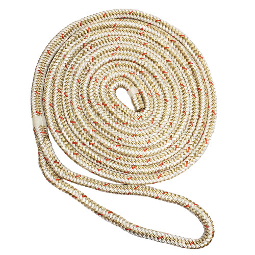 "New England Ropes 1\/2"" x 15 Nylon Double Braid Dock Line - White\/Gold w\/Tracer"