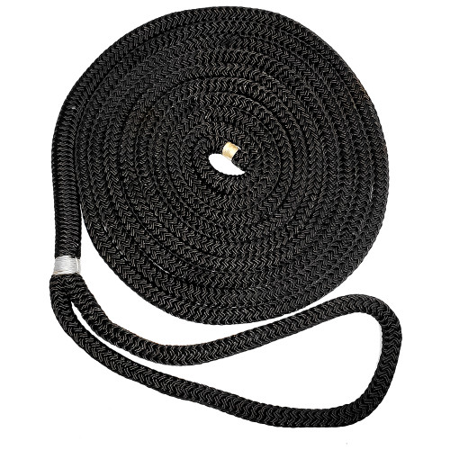 "New England Ropes 1\/2"" X 25 Nylon Double Braid Dock Line - Black"
