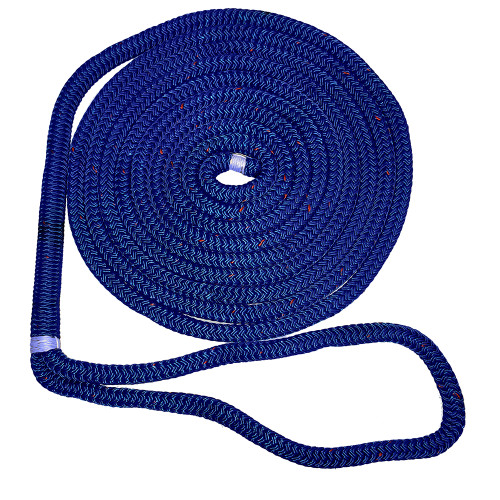 "New England Ropes 1\/2"" X 15 Nylon Double Braid Dock Line - Blue w\/Tracer"