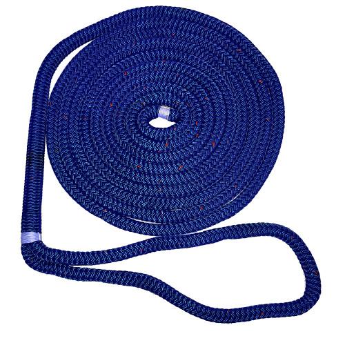"New England Ropes 3/4"" X 35 Nylon Double Braid Dock Line - Blue w/Tracer"